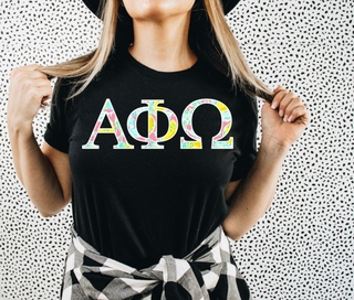 Alpha Phi Omega Lemon Zest Lettered Short Sleeve T-Shirt