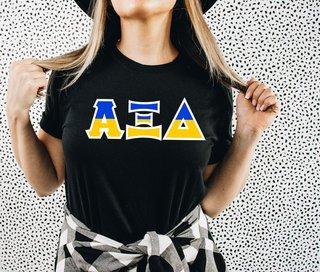 Alpha Xi Delta Two Tone Greek Lettered T-Shirt