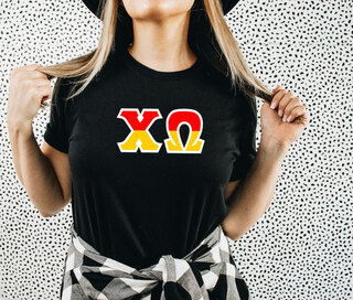 Chi Omega Two Tone Greek Lettered T-Shirt