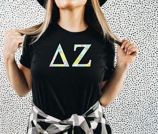 Delta Zeta Lemon Zest Lettered Short Sleeve T-Shirt