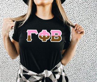 Gamma Phi Beta Two Tone Greek Lettered T-Shirt