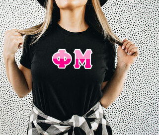 Phi Mu Two Tone Greek Lettered T-Shirt