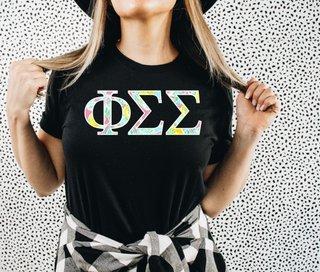 Phi Sigma Sigma Lemon Zest Lettered Short Sleeve T-Shirt
