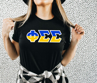 Phi Sigma Sigma Two Tone Greek Lettered T-Shirt