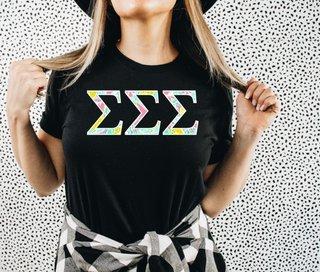 Sigma Sigma Sigma Lemon Zest Lettered Short Sleeve T-Shirt