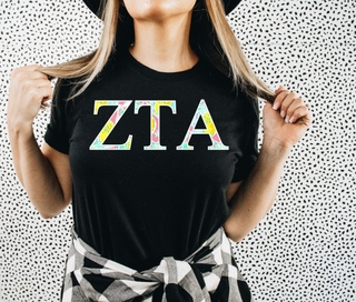 Zeta Tau Alpha Lemon Zest Lettered Short Sleeve T-Shirt