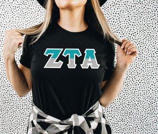 Zeta Tau Alpha Two Tone Greek Lettered T-Shirt