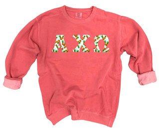 Alpha Chi Omega Comfort Colors Lettered Crewneck Sweatshirt