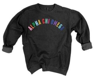 Alpha Chi Omega Comfort Colors Rainbow Arch Crew