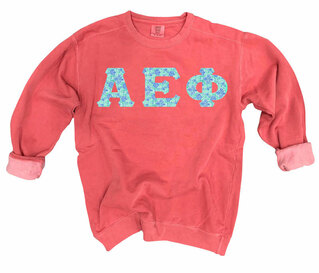 Alpha Epsilon Phi Comfort Colors Lettered Crewneck Sweatshirt