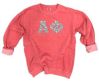 Alpha Phi Comfort Colors Lettered Crewneck Sweatshirt