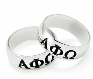 Alpha Phi Omega Sterling Silver Wide Band Ring
