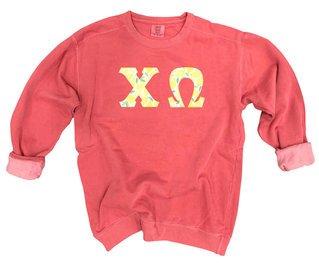 Chi Omega Comfort Colors Lettered Crewneck Sweatshirt