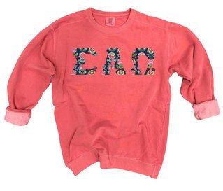 Sigma Alpha Omega Comfort Colors Lettered Crewneck Sweatshirt