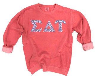 Sigma Delta Tau Comfort Colors Lettered Crewneck Sweatshirt