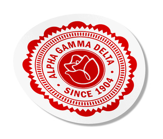 "Alpha Gamma Delta 5"" Sorority Seal Bumper Sticker"