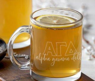 Alpha Gamma Delta Letters Glass Mug