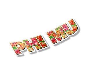 "Phi Mu Floral Long Window Sticker - 15"" long"