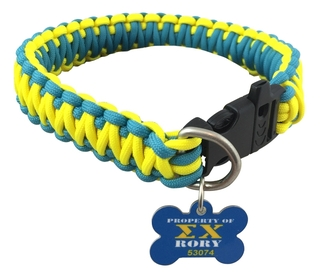 Sigma Chi Paracord Dog Collar with ID Tag Attached