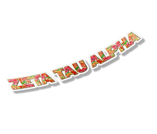 "Zeta Tau Alpha Floral Long Window Sticker - 15"" long"