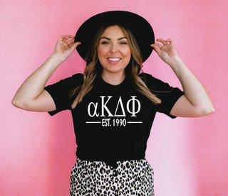alpha Kappa Delta Phi Custom Greek Lettered Short Sleeve T-Shirt - Comfort Colors