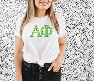 Alpha Phi Green Fizz Lettered Short Sleeve T-Shirt
