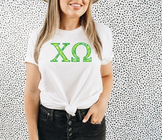 Chi Omega Green Fizz Lettered Short Sleeve T-Shirt