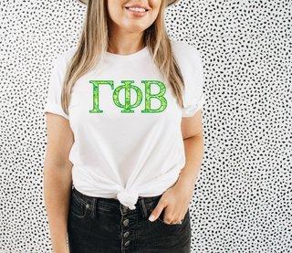 Gamma Phi Beta Green Fizz Lettered Short Sleeve T-Shirt