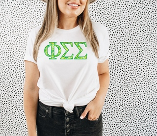 Phi Sigma Sigma Green Fizz Lettered Short Sleeve T-Shirt
