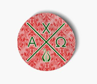 Alpha Chi Omega Well Balanced Round Decals