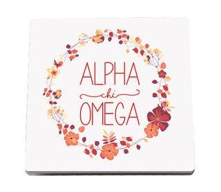 Alpha Chi Omega Floral Wreath Sandstone Coasters (2)
