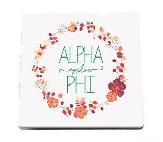 Alpha Epsilon Phi Floral Wreath Sandstone Coasters (2)