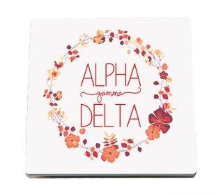 Alpha Gamma Delta Floral Wreath Sandstone Coasters (2)