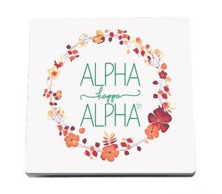 Alpha Kappa Alpha Floral Wreath Sandstone Coasters (2)