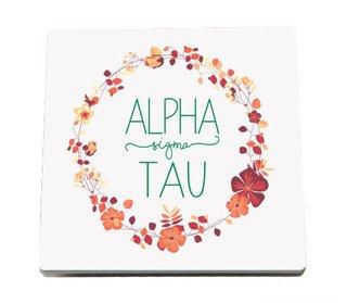 Alpha Sigma Tau Floral Wreath Sandstone Coasters (2)