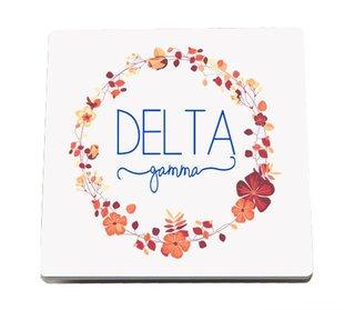 Delta Gamma Floral Wreath Sandstone Coasters (2)