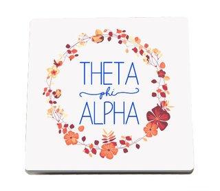 Theta Phi Alpha Floral Wreath Sandstone Coasters (2)