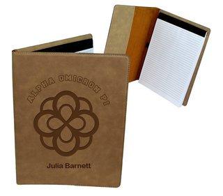 Alpha Omicron Pi Leatherette Portfolio with Notepad