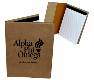Alpha Phi Omega Leatherette Mascot Portfolio with Notepad