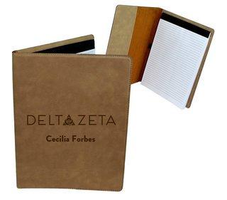 Delta Zeta Mascot Leatherette Portfolio with Notepad