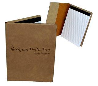 Sigma Delta Tau Mascot Leatherette Portfolio with Notepad