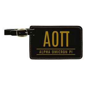 Alpha Omicron Pi Leatherette Luggage Tag