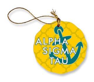 Alpha Sigma Tau Porcelain Ornament Snowball