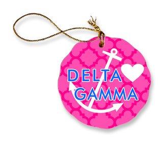 Delta Gamma Porcelain Ornament Snowball