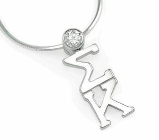Sigma Kappa Sterling Silver Lavaliere Pendant with Swarovski Clear Crystal