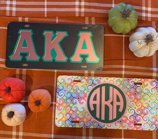 The New Super Savings - Alpha Kappa Alpha License Plate Set - PINK GREEN AND BLACK