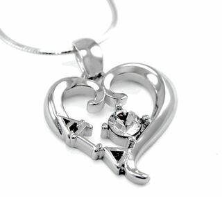 Alpha Gamma Delta Sterling Silver Heart Pendant with Swarovski Clear Crystal