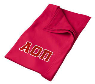DISCOUNT-Alpha Omicron Pi Lettered Twill Sweatshirt Blanket