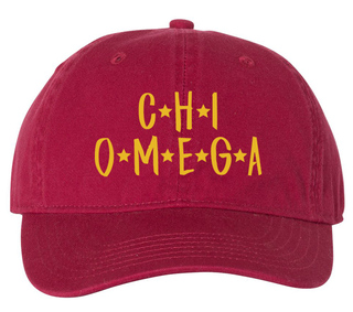 Chi Omega Starry Night Pigment Dyed Baseball Cap