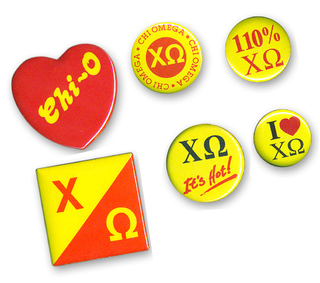 Chi Omega Sorority Buttons 6-Pack